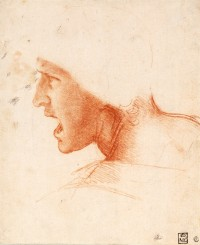 recto: Study for the Head of a Soldier in the Battle of Anghiari
