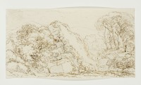 Károly Markó Sr.: untitled (landscape with castle and reclining figure)