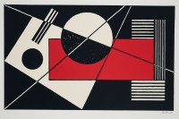 Sándor Bortnyik: Geo. Comp: black-red-white `70