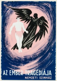 Sándor Bortnyik: As Ember Tragediaja, (man with black winged figure, ...